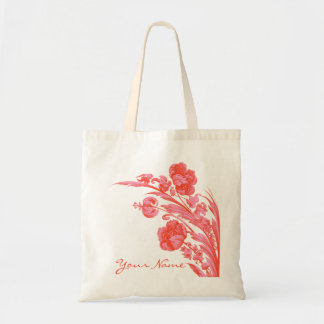 Vintage Flowers in Bold Colors, Orange and Pink Budget Tote Bag