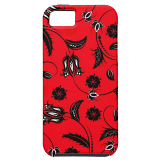 Vintage Flowers in Red Case For The iPhone 5