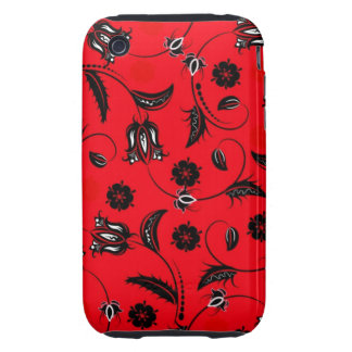 Vintage Flowers in Red Tough iPhone 3 Case