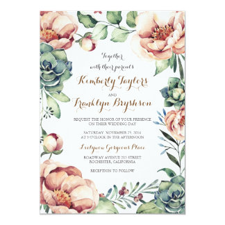 vintage flowers ivory watercolor wreath fall 13 cm x 18 cm invitation card