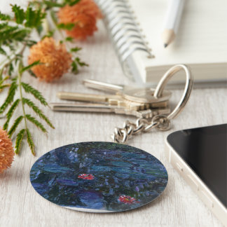 vintage flowers monet water lilies reflections art key chains