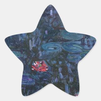 vintage flowers monet water lilies reflections art star sticker