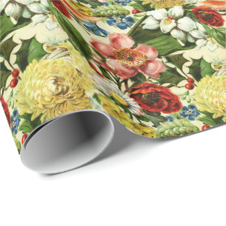 Vintage flowers monogram floral country wrapping paper