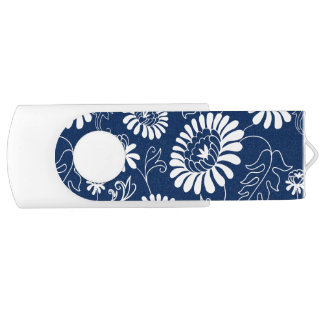 Vintage flowers on deep blue swivel USB 3.0 flash drive