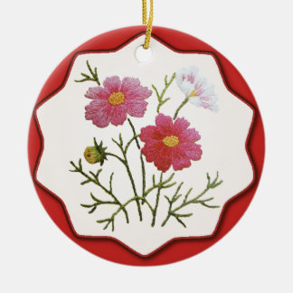 Vintage Flowers on Gingham Christmas Ornament