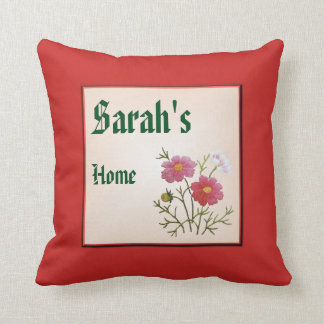 Vintage Flowers on Gingham Cushion