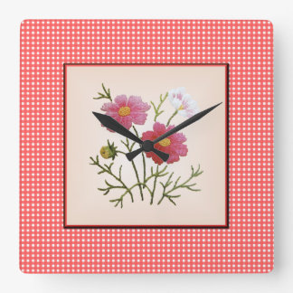 Vintage Flowers on Gingham Square Wall Clock