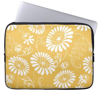 Vintage flowers on mustard yellow computer sleeves