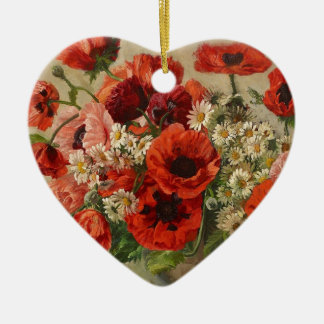 Vintage flowers, poppies christmas ornament