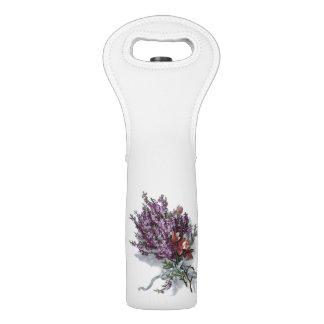 Vintage Flowers Purple Lavender Floral Bouquet Wine Bag