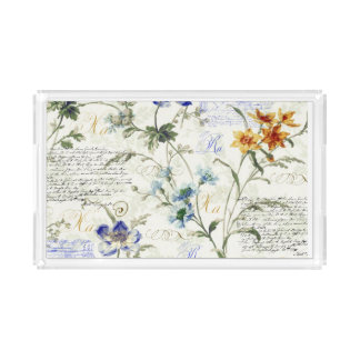 Vintage Flowers Small Rectangle Tray