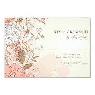 Vintage Flowers Spring Garden Wedding RSVP Card 9 Cm X 13 Cm Invitation Card