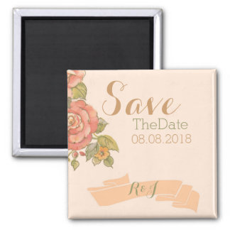 vintage flowers spring wedding save the date magnets