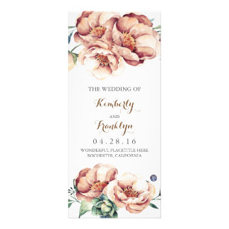 vintage flowers watercolor fall wedding programs rack card