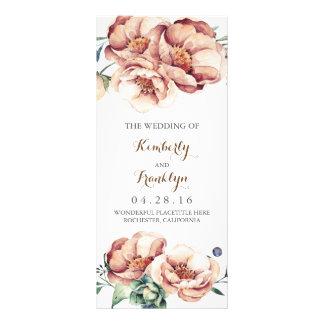 vintage flowers watercolor fall wedding programs rack card