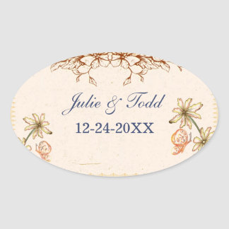 Vintage Flowers Wedding Save The Date Stickers