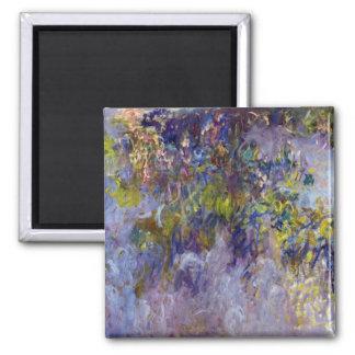 Vintage Flowers, Wisteria (left) by Claudet Monet Square Magnet