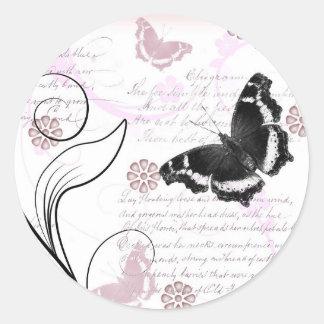 Vintage flutter round sticker