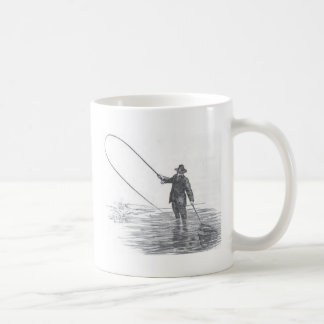 Vintage Fly Fishing Art Coffee Mug