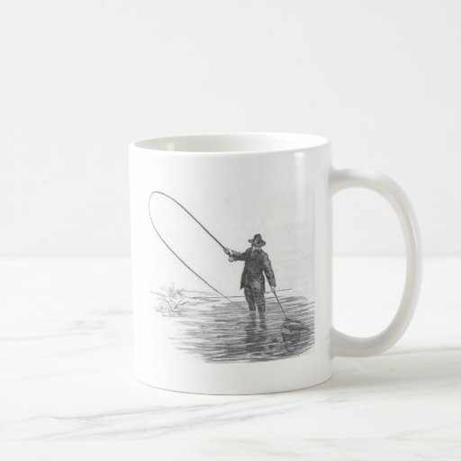 Vintage Fly Fishing Art Coffee Mug