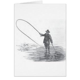 Vintage Fly Fishing Art Greeting Card