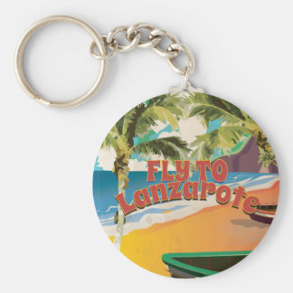 Vintage Fly To Lanzarote Travel Poster Basic Round Button Key Ring