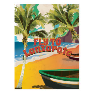 Vintage Fly To Lanzarote Travel Poster Post Card