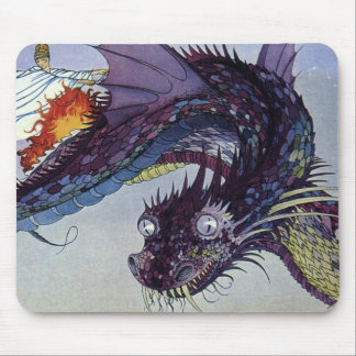 Vintage Flying Dragon Mythical Illustration Mouse Pad