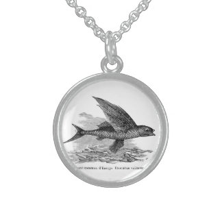 Vintage flying fish illustration necklace