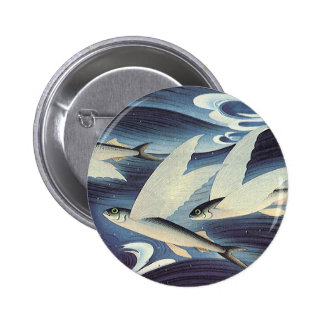 Vintage Flying Fish in Blue Ocean, Aquatic Animals 6 Cm Round Badge