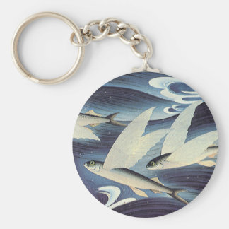 Vintage Flying Fish in Blue Ocean, Aquatic Animals Basic Round Button Key Ring