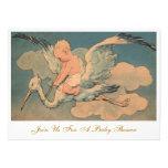 Vintage Flying Stork and Infant Gender Baby Shower Personalized Invitation