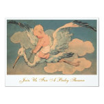 Vintage Flying Stork and Infant Gender Baby Shower Personalized Announcement