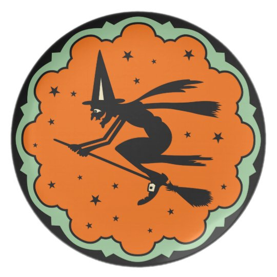 Vintage Flying Witch Halloween Plate