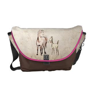 Vintage Foal with Flower Commuter Bag