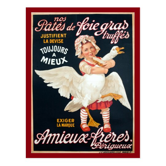 Vintage Foie Gras Pate Advertisement Postcard