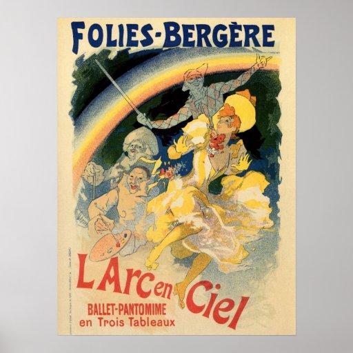 Vintage Folies Bergère rainbow ballet Poster