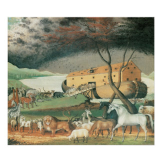 Vintage Folk Art, Noah's Ark by Edward Hicks Poster