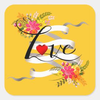 Vintage Folklore Floral Love | marigold Square Sticker