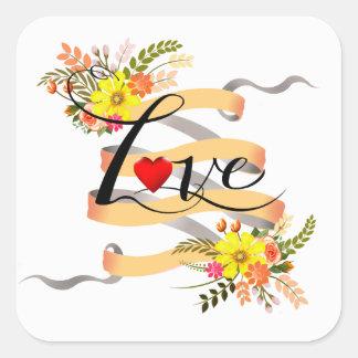 Vintage Folklore Floral Love | peach white Square Sticker