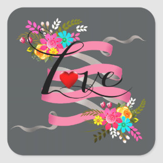 Vintage Folklore Floral Love | pink charcoal Square Sticker