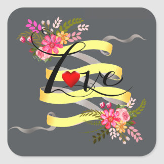 Vintage Folklore Floral Love | yellow charcoal Square Sticker