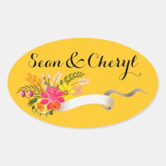 Vintage Folklore Floral Ribbon | marigold Oval Sticker