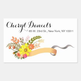 Vintage Folklore Floral Ribbon peach white Rectangular Sticker