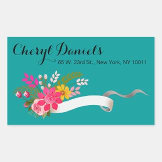 Vintage Folklore Floral Ribbon | teal white Rectangular Sticker