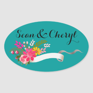 Vintage Folklore Floral Ribbon | teal white Oval Sticker