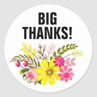 Vintage Folklore Floral Thank You aqua white Classic Round Sticker