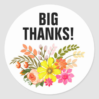 Vintage Folklore Floral Thank You peach white Round Sticker