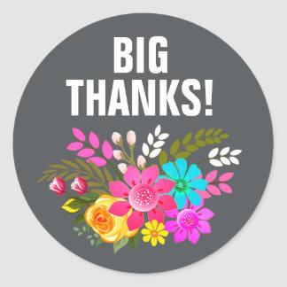 Vintage Folklore Floral Thank You | pink charcoal Round Sticker