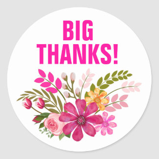 Vintage Folklore Floral Thank You | pink Round Sticker